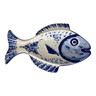 Portuguese Blue and White Fish Plate For Sale