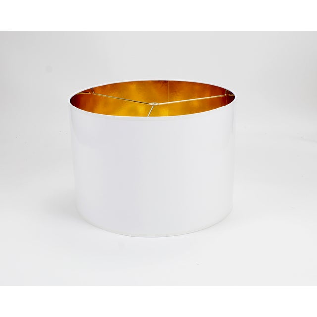 Not Yet Made - Made To Order White High Gloss Drum Lamp Shade With Gold Lining For Sale - Image 5 of 5