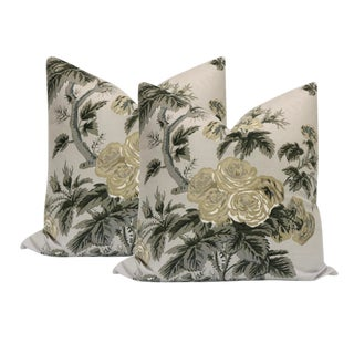 "20"" Pyne Hollyhock Grisaille Pillows - a Pair For Sale"