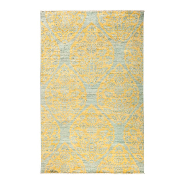"""Yellow & Gray Hand-Knotted Rug- 5' 1"""" x 7' 10"""" For Sale"""