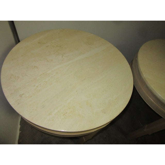 Asian Style Round Table With Marble Tops - a Pair For Sale - Image 4 of 8