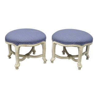 Late 20th Century Vintage Italian Hollywood Regency Rope & Knot Carved Wood Napoleon III Stools- A Pair For Sale
