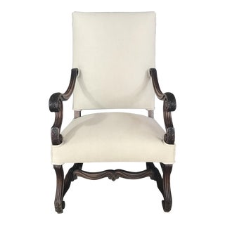 Late 19th Century Early French Louis XV French Carved Walnut Armchair or Fauteuil Newly Upholstered in Neutral French Linen For Sale