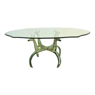 Vintage Alain Chervet Mid Century Solid Brass Verdigris Modern Coffee Table MCM Deer Ibex Ram
