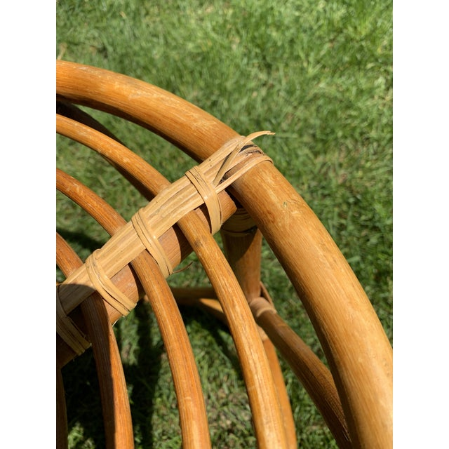 Wood Vintage Boho Round Rattan & Bamboo Side Table / Plant Stand For Sale - Image 7 of 9