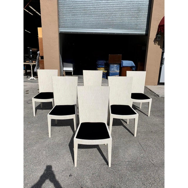 Classic Set of 6 Dining Chairs by Enrique Garcel Tessellated Bone. This set of 6 dining has been finished with a French...