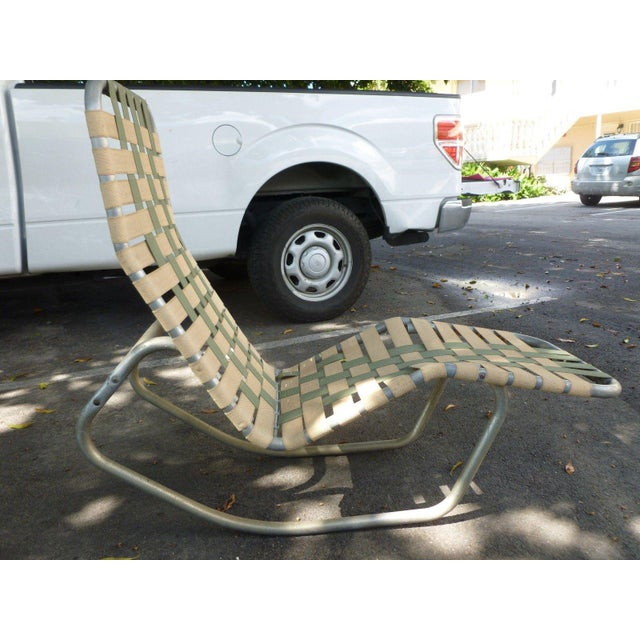 Off the Chain 1950's aluminum surfboard pool rocking lounge chair with webbing sold as found in good vintage condition...