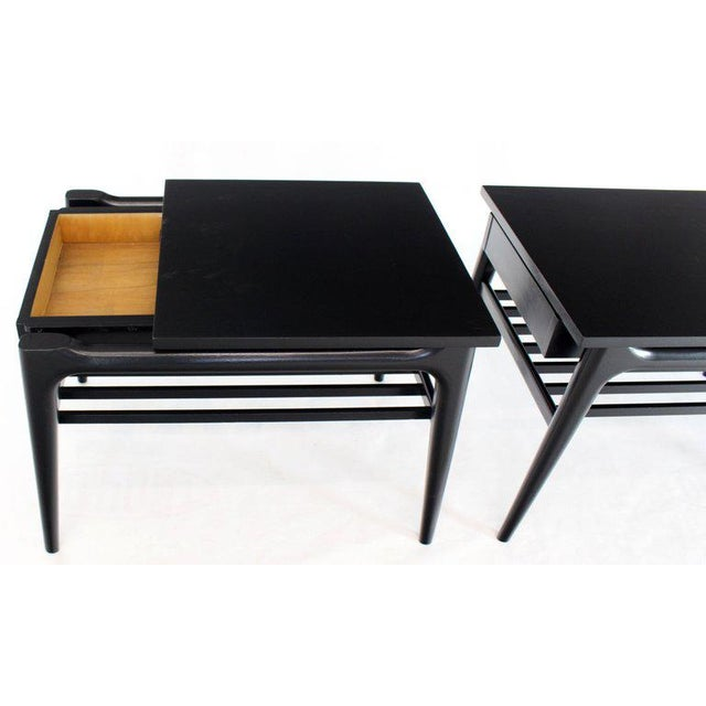 Pair of Black Ebonised One Drawer End Nightstands With Magazine Rack Sculptural For Sale - Image 10 of 13