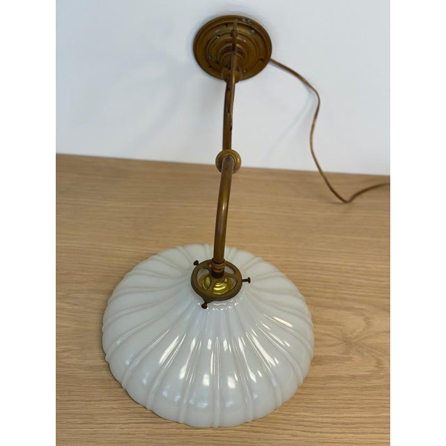 Vintage 1900s Wall Sconce in Antiqued Brass With Milk Glass Shade For Sale - Image 4 of 12
