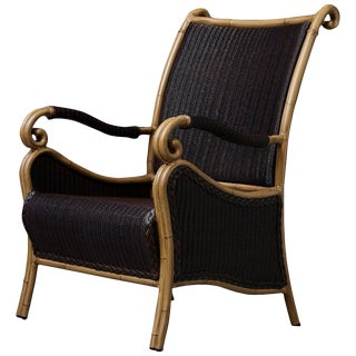 Black Wicker Armchair With Painted Faux Bamboo Wood Frame by Ebel For Sale