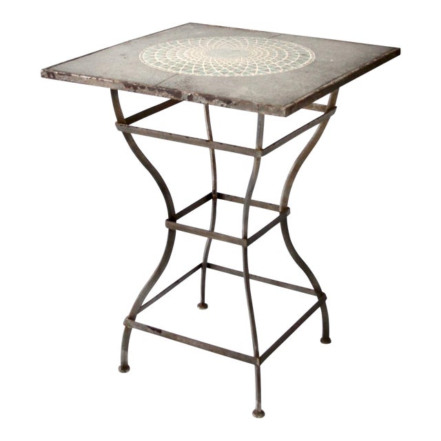 Vintage Mosaic Tall Patio Table - Image 1 of 11