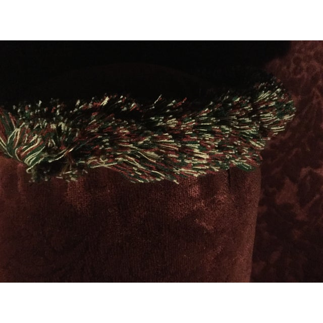 Bordeaux Cotton Velvet Damask Chair & a Half For Sale In New York - Image 6 of 10