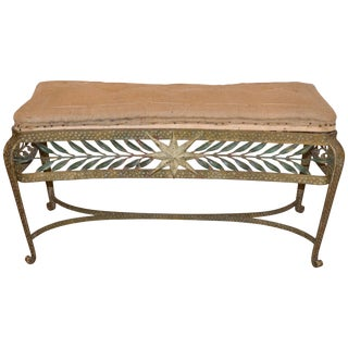 Forged and Gilt Bench, Pierluigi Colli for Cristal Art, Italy, 1950 For Sale