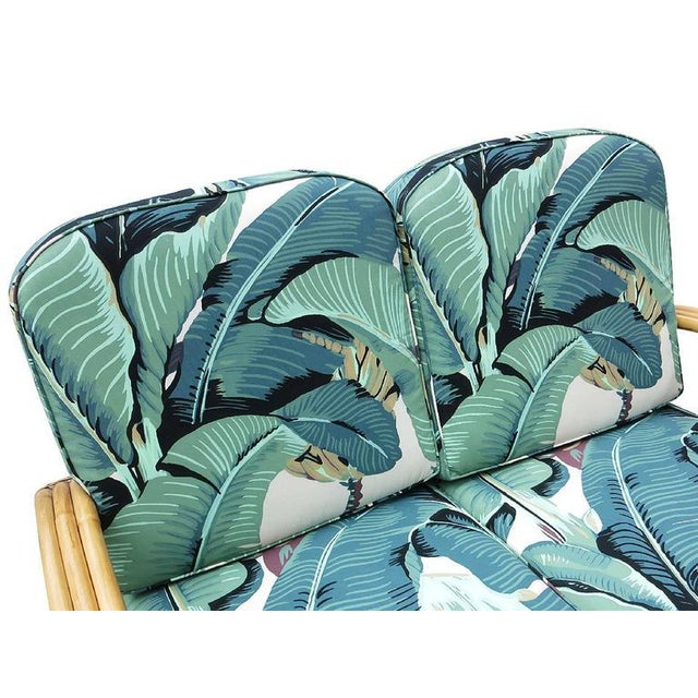 Wicker Restored 3/4 Round Pretzel Three-Strand Rattan Loveseat For Sale - Image 7 of 8