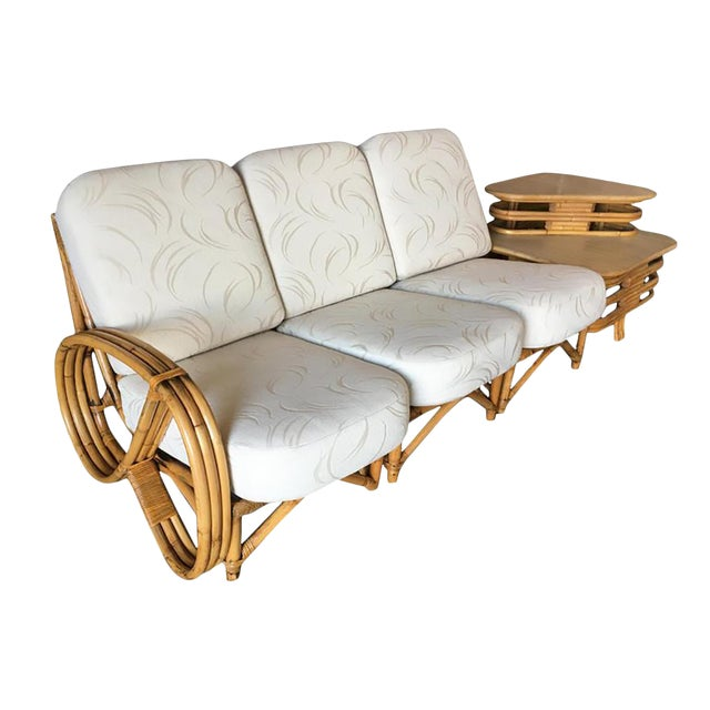 Restored 3/4 Round Pretzel Rattan Three Seater Sofa With Two Tier Table For Sale