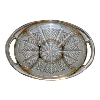 "Vintage Mid Century Jeannette ""Feather"" Divided Tray For Sale"
