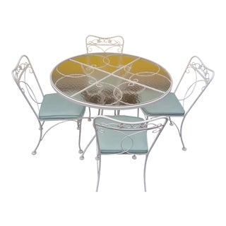 Vintage Lyon-Shaw Woodard Style Wrought Iron Metal Patio Table With 4 Chairs For Sale