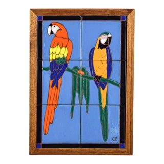 Catalina California Taylor or Mission Arts & Crafts Style Majolica Parrot Ceramic Tile Plaque by Palisades Picture Tile For Sale