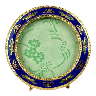 Lapis Blue Champlevé Enamel Round Frame With Gilt Bead Edging For Sale