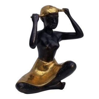 1960s Vintage Karl Hagenauer Style African Lady Bronze Sculpture For Sale