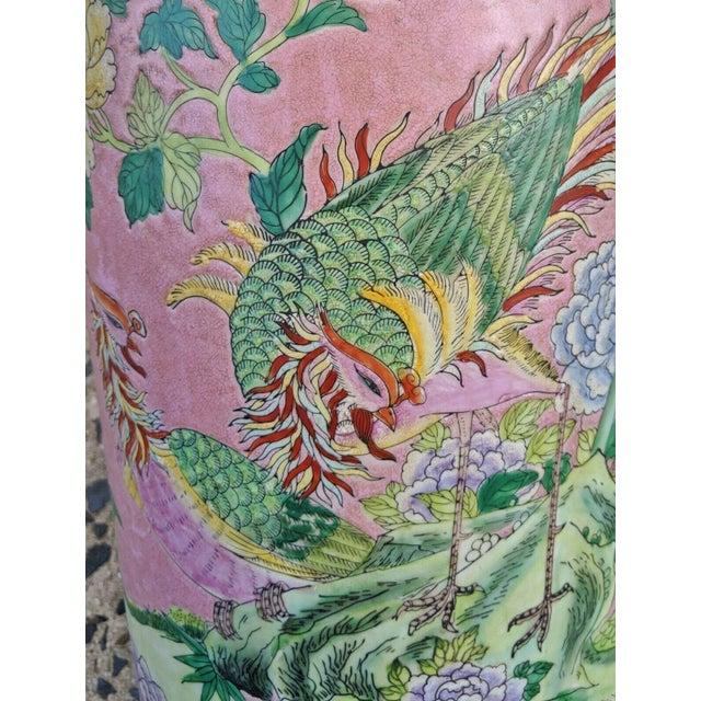 Vintage Chinese Famille Rose Medallion Porcelain Umbrella Stand For Sale - Image 4 of 11
