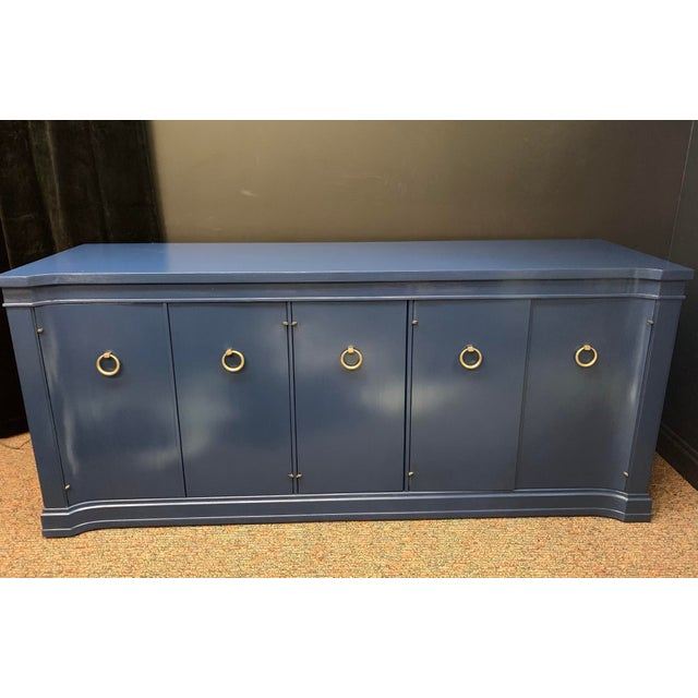 Beautifully refinished vintage Drexel credenza. Wonderful accent piece to the ones brave enough for extraordinary. On wheels.