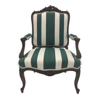 1910s Antique Carved Walnut Louis XVI Style French Bergere For Sale
