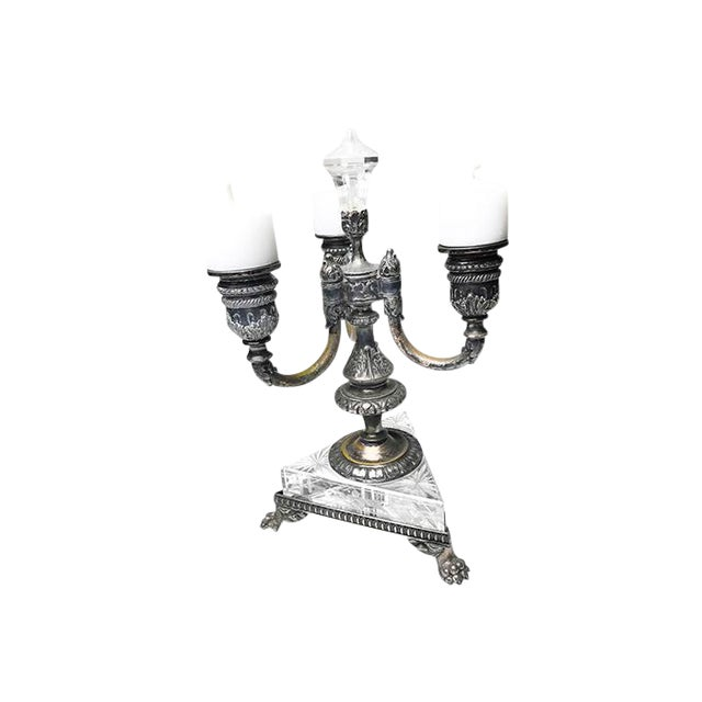 1800s Antique Pairpoint 3 Arm Crystal & Silver Plated Clawfoot Candelabra - Image 1 of 4