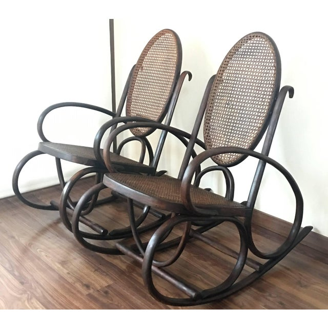 Art Deco Midcentury Elegant Rattan Pair of Rocking Chairs in the Thonet Style For Sale - Image 3 of 10