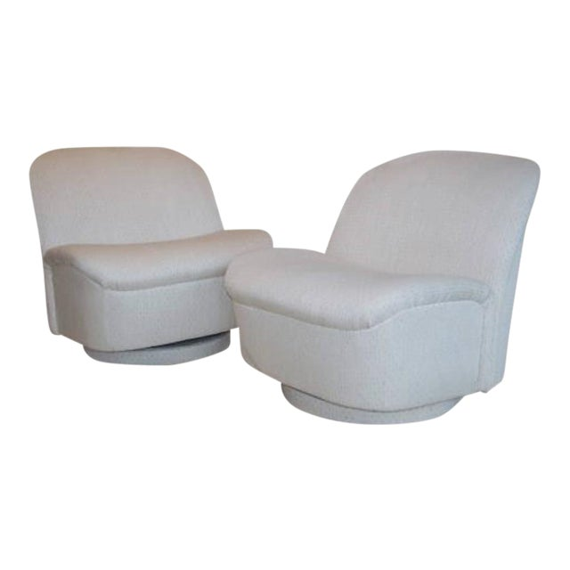 Vintage Directional White Swivel Chairs - a Pair - Image 6 of 6