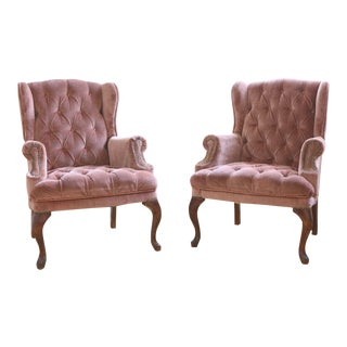 1960s Vintage Dusty Rose Tufted Velvet Wingback Chairs For Sale