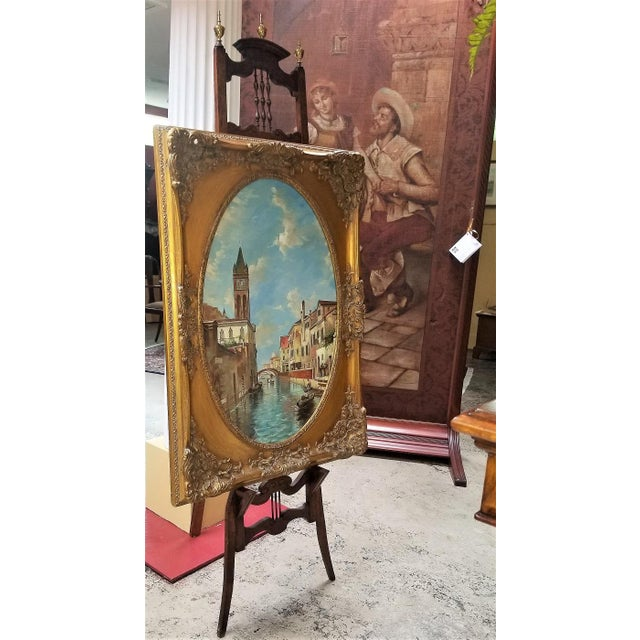 Oil on Canvas of Venetian Scene in Ornate Giltwood Frame For Sale - Image 11 of 12