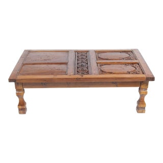 Antique Hand Carved English Oak Door Coffee Table With Tudor Rose Carvings For Sale
