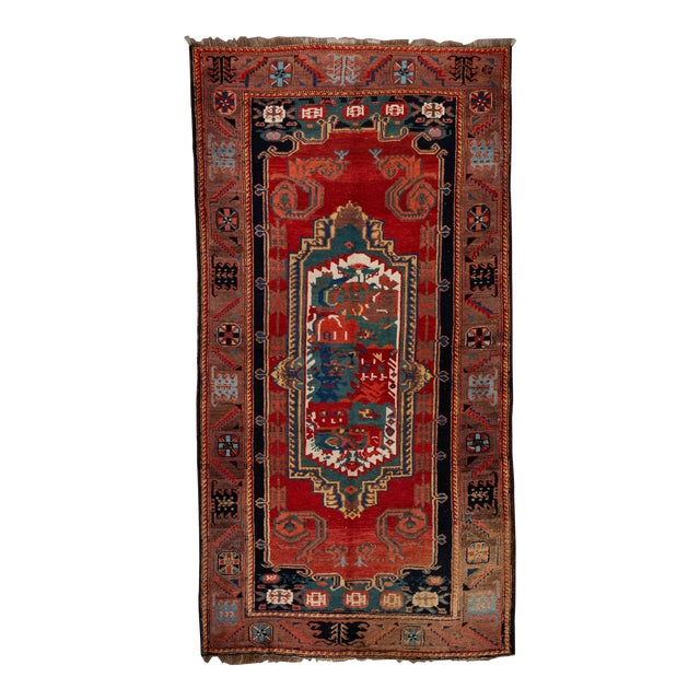 Mid-20th Century Vintage Wool Rug 4' 5'' X 8' 8''. For Sale