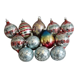 Fancy Glitter Christmas Ornaments - Set of 12 For Sale