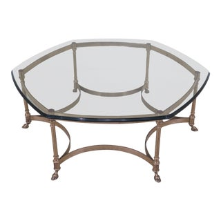 Labarge Hexagon Shaped Brass & Glass Coffee Table For Sale