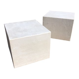 Vintage Plaster Cubes Tables- A Pair For Sale