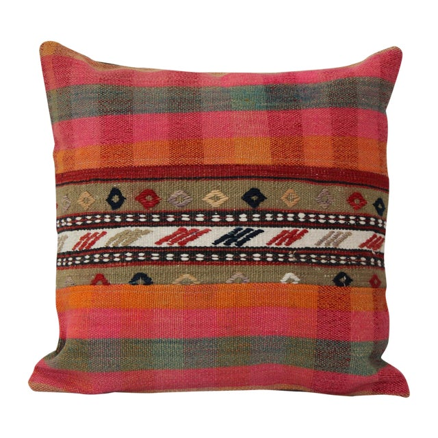 Turkish Handmade Wool Kilim Pillow Cover For Sale