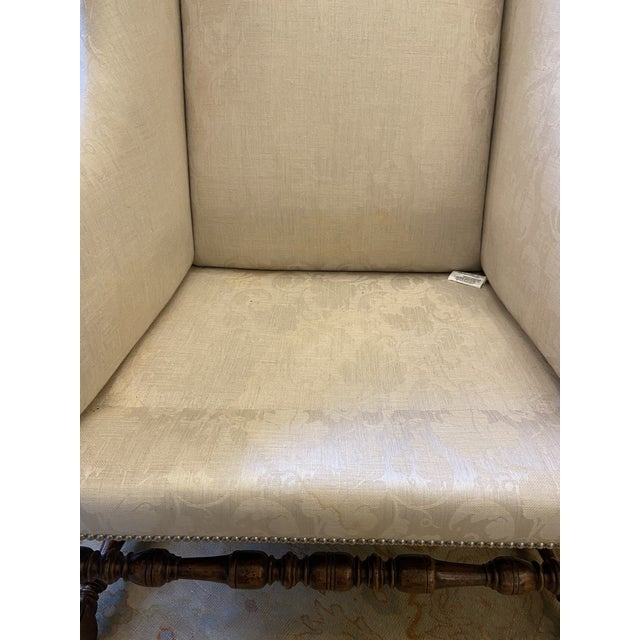 Damask Fabric Chair With Down Cushion and Mahogany Frame For Sale - Image 9 of 12