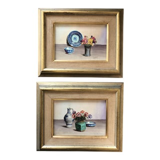 Original Vintage Miniature Still Life V.Weley Paintings a Pair For Sale