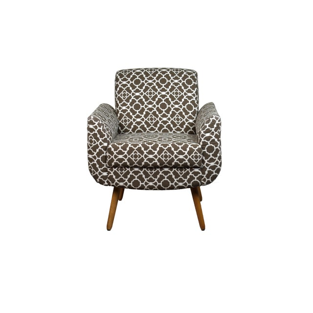 Contemporary Modern Brown Print Chair For Sale - Image 3 of 3