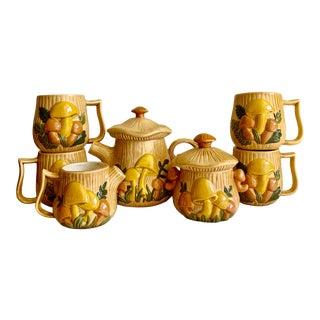 Midcentury 1976 Ceramic Mushroom Mugs & Serving Set For Sale