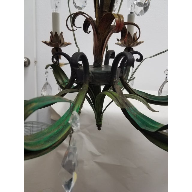 Vintage Pair of Hanging Colorful Leaf/Frond Lights - Flush Mount Ceiling For Sale In Dallas - Image 6 of 13