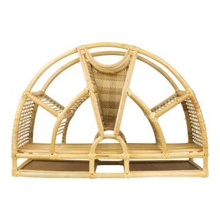 1970s Bohemian Rattan and Wicker Style Wall Desk Organizer For Sale