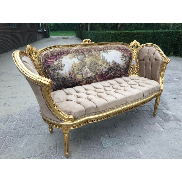 French Louis XVI Style Corbeille Sofa For Sale In Miami - Image 6 of 7