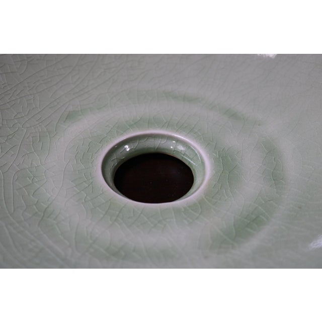 Contemporary Celedon Porcelain Sink Basin For Sale - Image 3 of 5
