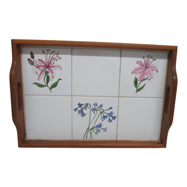 Vintage Country Breakfast Serving Tray in Wood and Hand Painted Ceramic Tiles For Sale