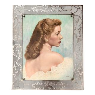 1950s Golden Age Style Portrait Gouache Painting, Framed For Sale