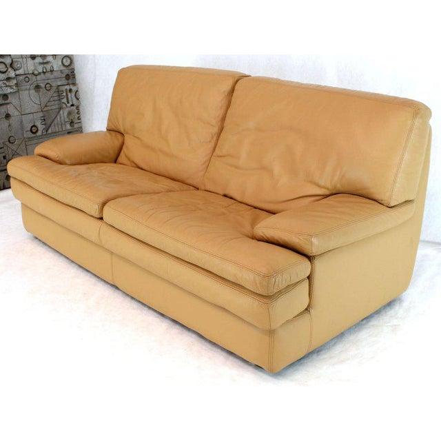 Roche Bobois Roche Bobois Light Peach Leather Loveseat Small Sofa For Sale - Image 4 of 11