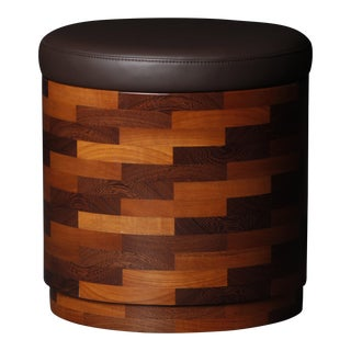 Brown Teak Stool from Pitsilkas For Sale